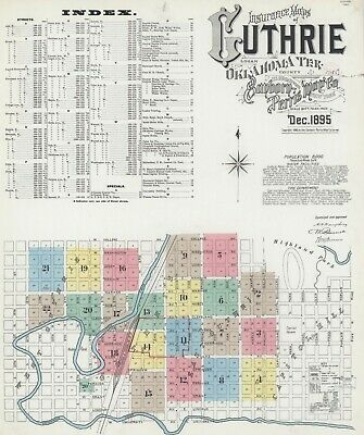 Guthrie, Oklahoma~Sanborn Map© sheets with 20 maps made in 1895 in full color