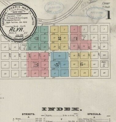 Alva, Oklahoma~Sanborn Map© sheets with 14 maps made in 1894, 1895, 1898~colored