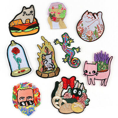 Embroidered Patches Iron Sew On transfers badges appliques Rock Cats with Flower