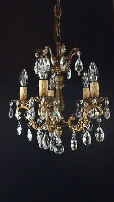 Beautiful Heavy Antique French 5 Arm Crystal Bronze Chandelier Ceiling Light