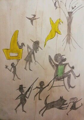 Bill Traylor outsider artist replica Painting (Unknown chaotic situation)