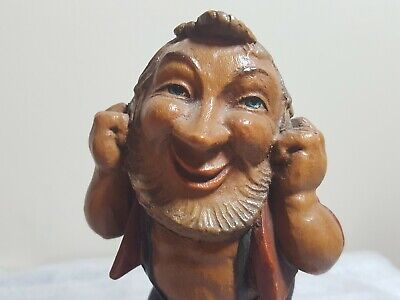 vintage Germanic / Scandinavian carved wood man / troll / gnome