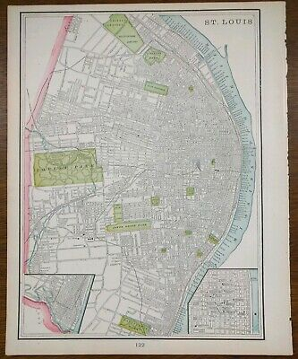 "Vintage 1900 ST LOUIS MISSOURI City Atlas Map 11""x14"" ~ Old Antique HOLLY HILLS"