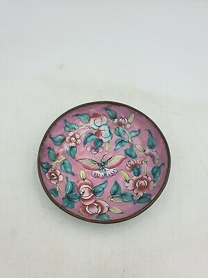 Vtg Chinese Canton Peking Enamel Famille Jaune Small DishPink Floral Butterfly