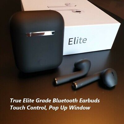 New Elite Black Touch Control Wireless Bluetooth Earbuds For iPhone, Airpods