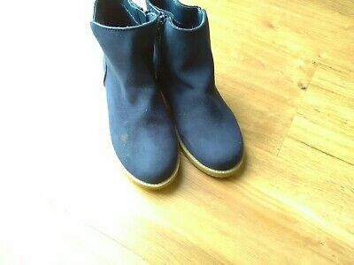 New Marks & Spencer Girls Suede Boots Size 12 Colour Navy