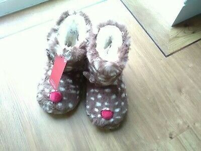 New  Marks & Spencer Girls Cosy Fully Fleece Lined  Slippers Size 9