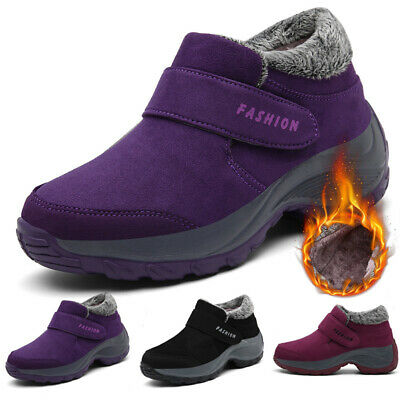 Women Ladies Winter Warm Cotton Lined Slip On Ankle Snow Boots Shoes Size 4-7