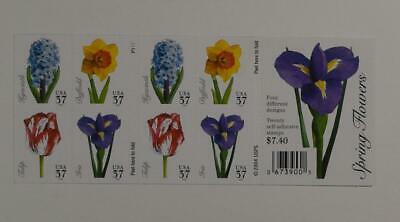 US SCOTT 3903b BOOKLET OF 20 SPRING FLOWERS STAMPS 37 CENT FACE MNH