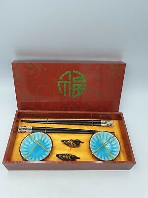 Chinese Japanese Lacquered Wooden Chopsticks Duck Rests Dipping Dishes 6PC Boxed
