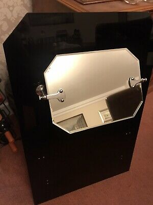 Art Deco Vintage Black And Chrome Bathroom Bevelled Mirror And Splash-back