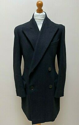 Vintage 1940's bespoke grey charcoal double breasted overcoat size 38