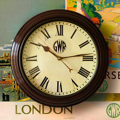 "GWR Roundel Great Western Railway Station Clock 12"" dia Retro high quality repro"