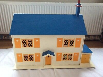 Traditional Hand Made Wooden Dolls House with Garage and Furniture  included