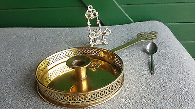 Antique Bed Chamber Candle Stick With Ornate Filigree Gallery X Small  Stand !