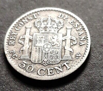 Spain coins 1910, 50 Cents Vintage coin, F/VF/EX