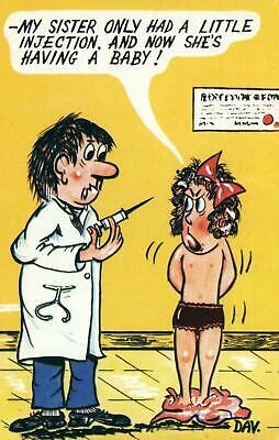 Rude Risque Comic Doctor Giving Half Naked Cranky Girl Injection Postcard Unused