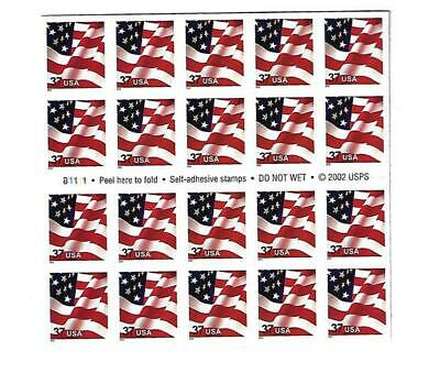 US SCOTT 3635a BOOKLET OF 20 US FLAG STAMPS 37 CENT FACE MNH