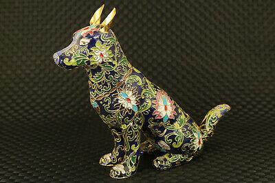true to life China cloisonne hand painting dog statue collectable noble gift
