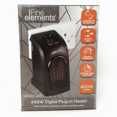 Fine Elements 400W Portable Plug-In Instant Electric Heater Digital LED Display