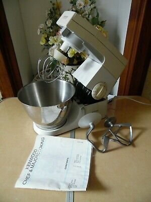 Kenwood Chef KM210 Classic Mixer White With Bowl Dough Hook K Beater & Whisk .