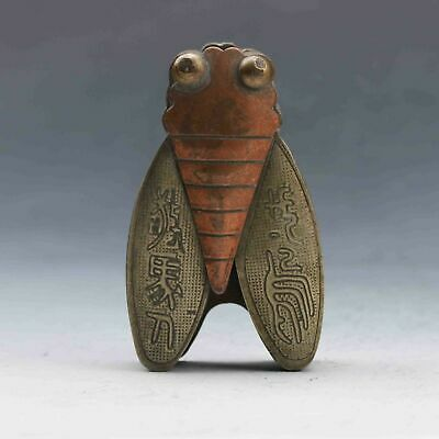 Old Chinese Ancient Collection Museum Hand carved Bronze cicada statue