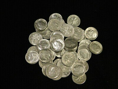 90/% Silver Roosevelt Dimes $5 Face Value 1 Roll 50 Coins Fifty