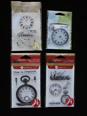 Clear Rubber Stamps Clock Watch Parts Hands Pocketwatch Text Lots of Options