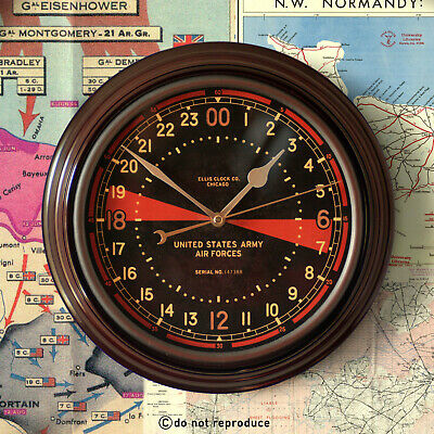 24 Hour Military USAAF 8th Air Force Clock WW2 Zulu Time Sector Radio Room 12""