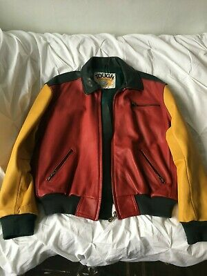 Vintage 80s 90s real leather bomber patchwork multi colourful S jacket hip hop