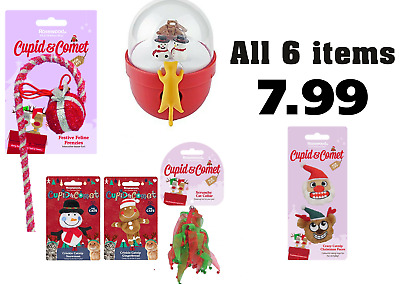 Cupid & Comet Cat 6 Toy Bundle Christmas - Treat Ball & Toys - NQP