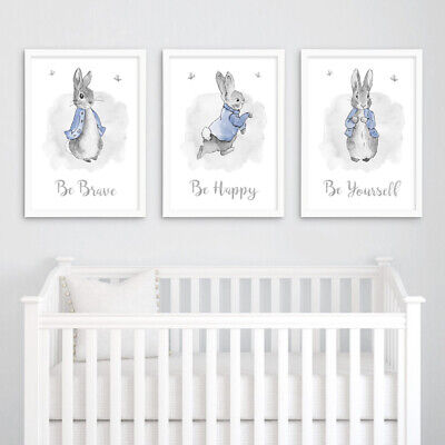 Peter Rabbit Quote Nursery Prints Set Grey Childrens Bedroom Pictures Decor Boy