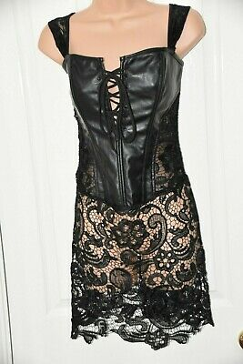 CS - Black PU effect goth style corset with lace skirt, BN, XL, cd dressing