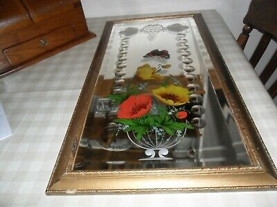 Antique / Vintage Romany Gypsy Mirror / Butterfly / Flowers & Faceted Detail