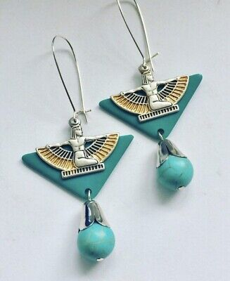 Large Art Deco Vintage Turquoise Galalith Egyptian Revival Statement Earrings