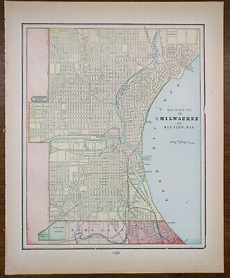 """MILWAUKEE WISCONSIN 1900 Vintage Map 11""""x14"""" ~ Old Antique BAYVIEW WHITEFISH BAY"""