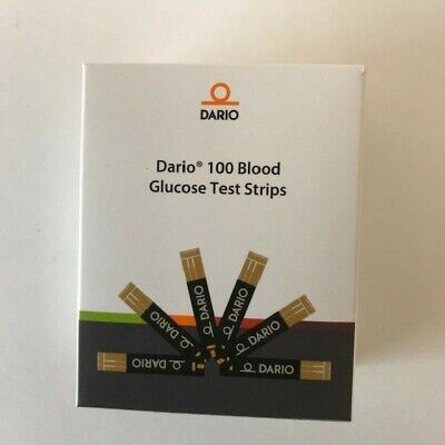 100 DARIO Blood Glucose Test Strips For Monitoring Systems Expires 9/2020 Sealed