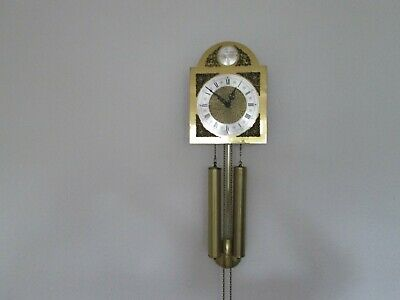 Vintage brass dial wall clock 2 weight 8 day movement. chimes on the hour & half