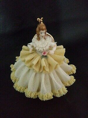 Dresden Porcelain Lace Figurine 3.5 inch