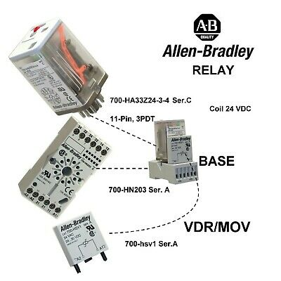 Allen Bradley 11 pin relay with base and suppressor 700-HA33Z24-3-4 COIL 24 v dc