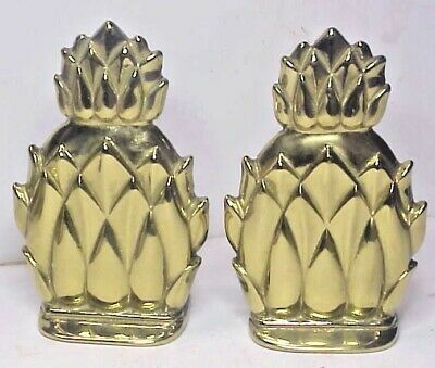 pair Virginia Metalcrafters Newport solid brass Pineapple Bookends