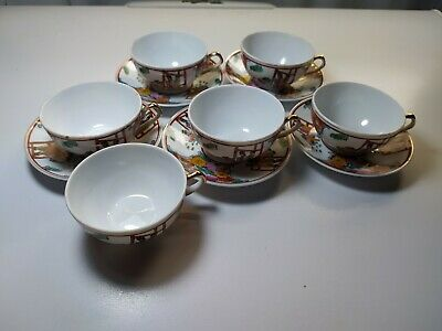 Set Of 6 Antique Chinese Porcelain  Famille Tea  6 Cup & 5 Saucer hand painting