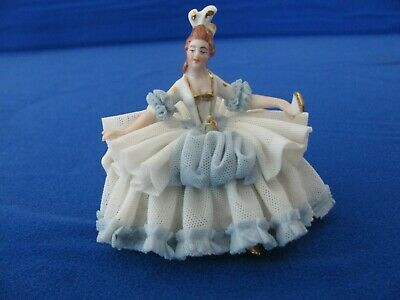 "Vintage Dresden 3"" Lace Porcelain Sitting Lady Figurine. Dresden Art Germany"