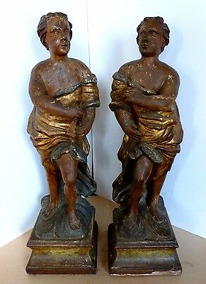Italian Baroque Style Carved Wood & Polychrome Figures Cherubs Pair Circa 1800