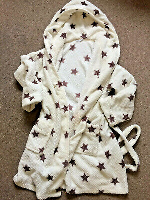 Matalan Belted White Dressing Gown with Star Images Size 12-14