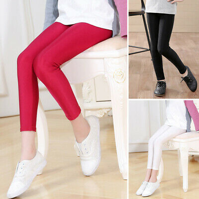New Kids Girls Youth Stretch Gloss Pants Slim Bottoming  Pencil Trousers Tights