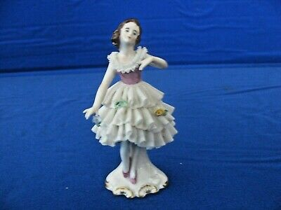 """Vintage Dresden 4 1/2"""" Lace Porcelain Ballerina  Figurine Marked with Crown,"""