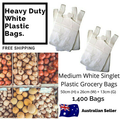 1,400 HEAVY DUTY Grocery Shopping Checkout Medium White Plastic Singlet Bags