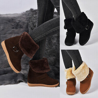 Women's Casual Vintage Shoes Slip On Buckle Retro Booties Winter Warm Snow Boots