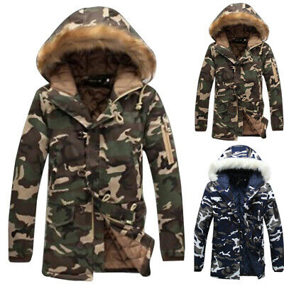 Camo  Mens Heavy Weight Fur Hood Parka Cotton  Padded Winter Coat Jacket